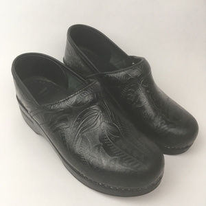 Dansko Black Floral Tooled Embossed Leather Clogs